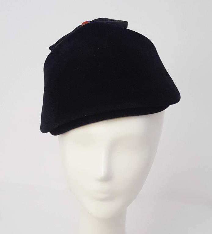 Gray 50s Navy Felt Cap With Bow  For Sale