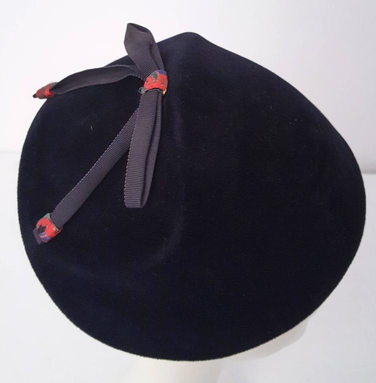 50s Navy Felt Cap With Bow  For Sale 1