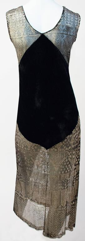 20s Art Deco Sterling Silver Assuit and Silk Velvet Dress 2