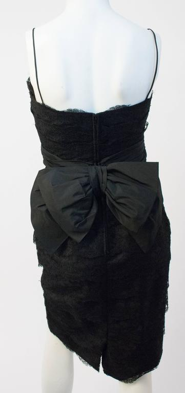 50s Black Lace Tiered Dress with Bow Back.
