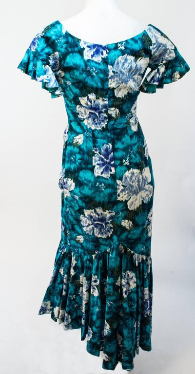 50s Cotton Flamenco Style Floral Print Dress For Sale At