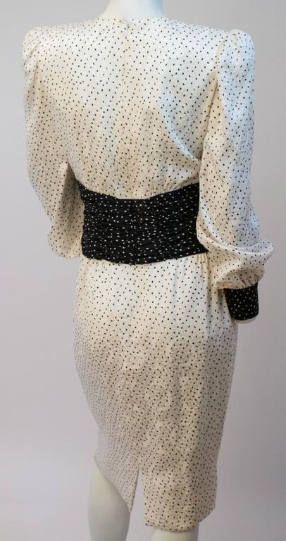 Beige 80s Carolina Herrera Dot Dress For Sale