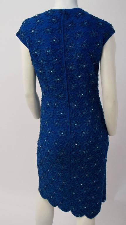 110f47e985e Women s 60s Royal Blue Embroidered Sheath Dress with Scallop Hem For Sale