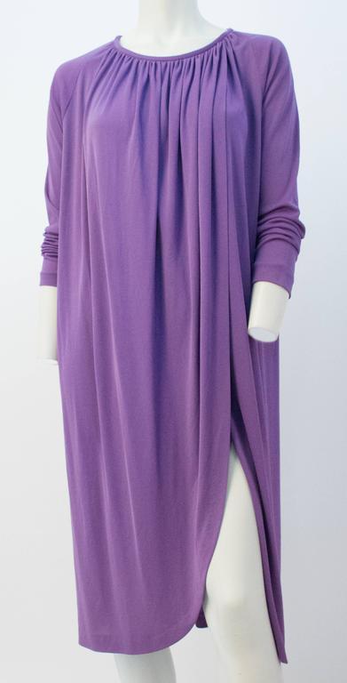 70s Diane Von Furstenberg Long Sleeve Purple Dress For Sale 1