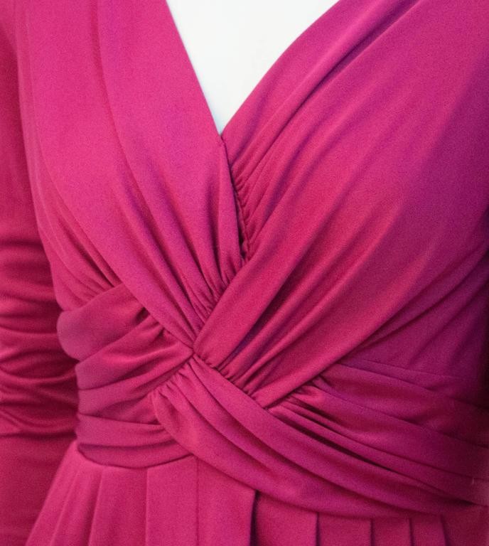 Red 70s Magenta Jersey Dress For Sale