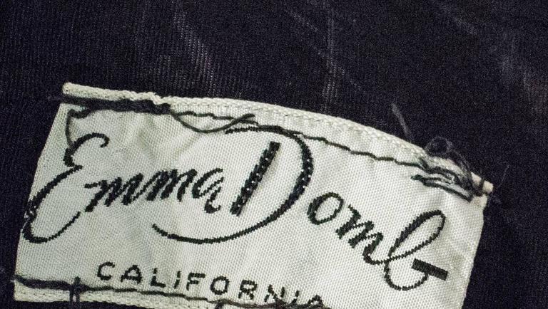 50s Emma Domb Black Chiffon Tiered Dress For Sale 1