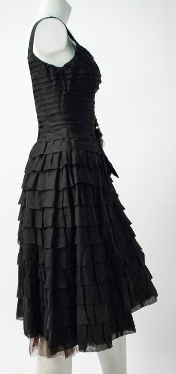 50s Emma Domb Black Chiffon Tiered Dress In Excellent Condition For Sale In San Francisco, CA