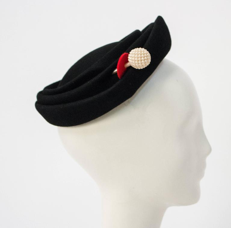 50s wool Felt Hat  In Excellent Condition For Sale In San Francisco, CA