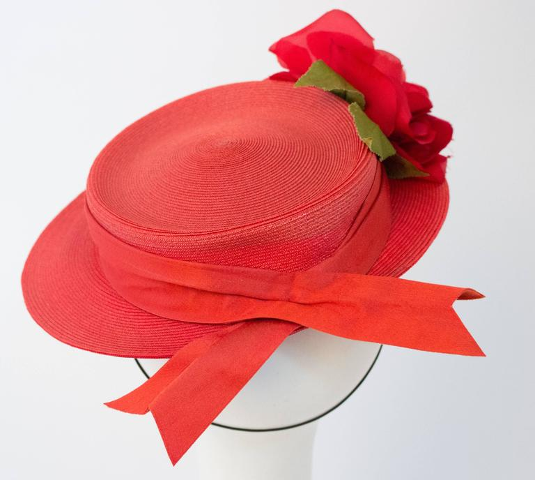Women's 40s Red Straw Hat w/ Rose For Sale