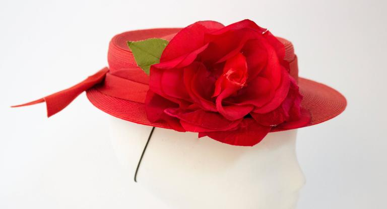 40s Red Straw Hat w/ Rose 3