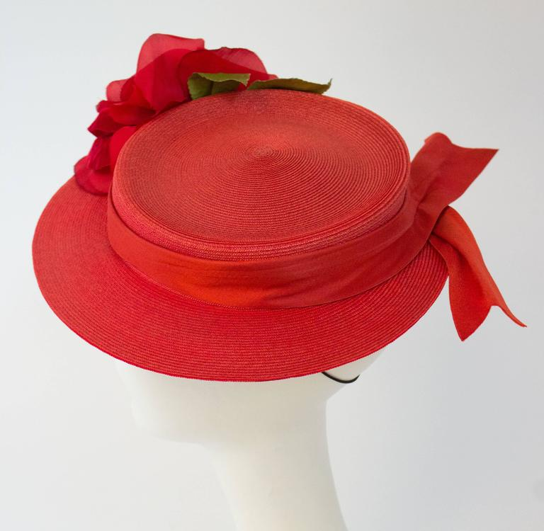 40s Red Straw Hat w/ Rose.