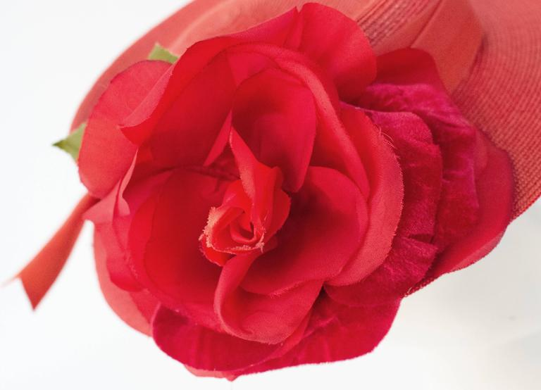 40s Red Straw Hat w/ Rose For Sale 1