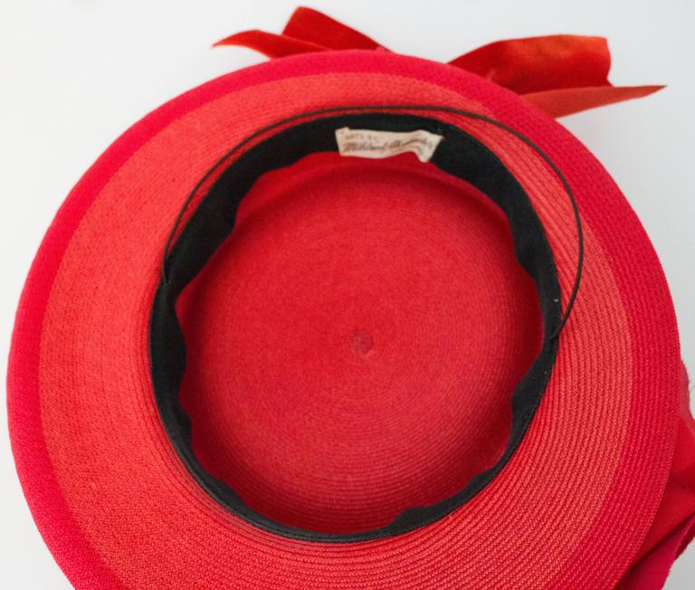 40s Red Straw Hat w/ Rose For Sale 2