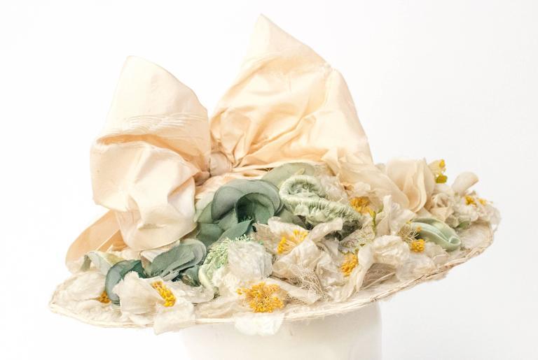 Beige 1910s Floral Edwardian Hat w/ Large Bow