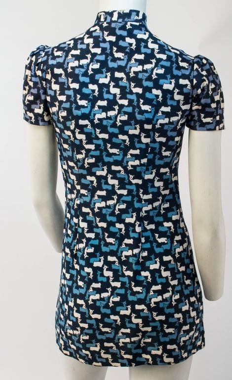 Women's 60s Blue Doe Mini Dress For Sale