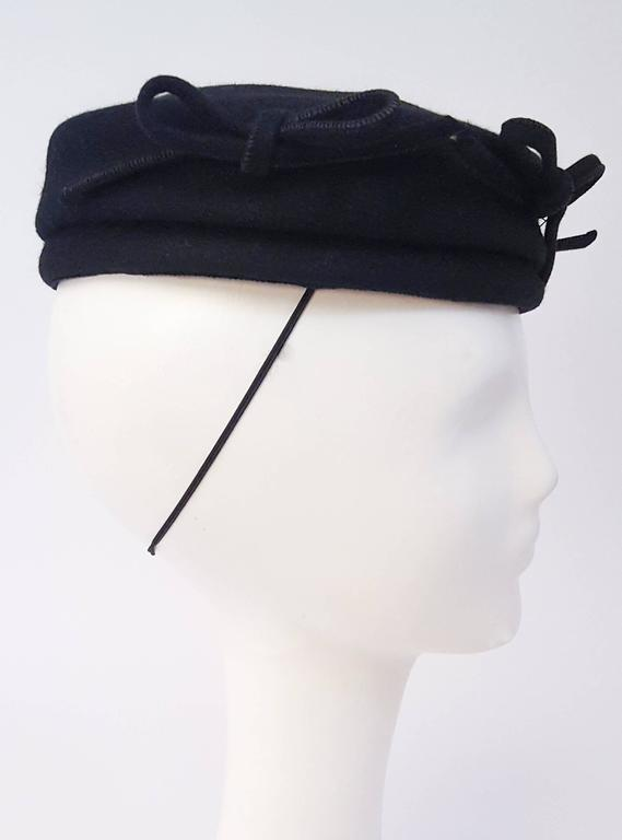 Black 1940s Navy Fashion Hat w/ Bows For Sale