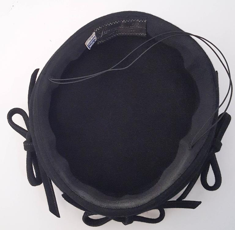 1940s Navy Fashion Hat w/ Bows For Sale 1