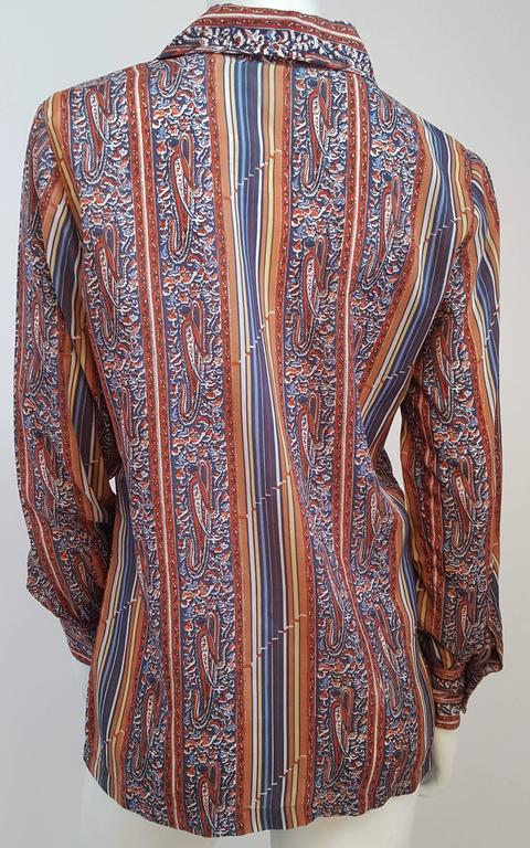 Brown 1970s Givenchy for Chesa Printed Shirt For Sale