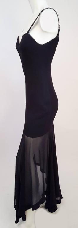 1990s Versace Dress w/ Handkerchief Chiffon Hem. Back zip closure. Versace stamped rings on shoulder straps. Padded inner bodice provides support.