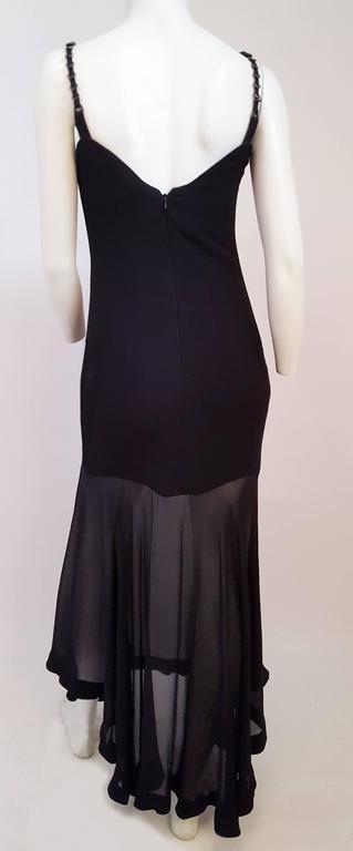 Black 1990s Versace Dress w/ Handkerchief Chiffon Hem For Sale