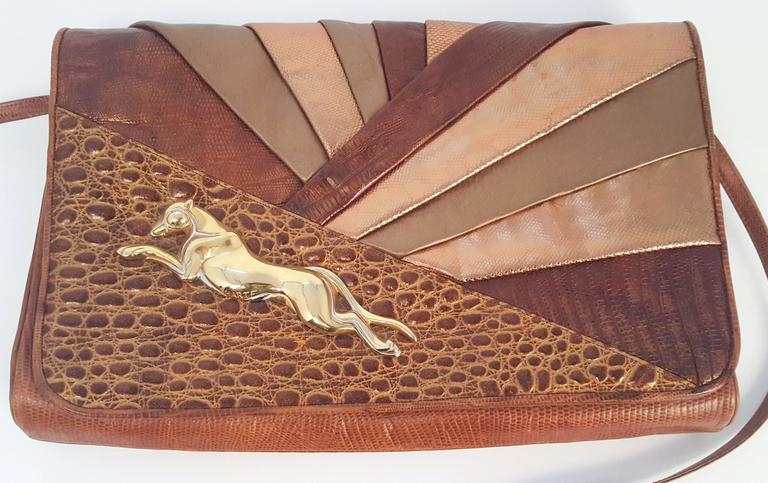 1980s Sharif Multi Pieced Leather Purse. Slight tarnishing on metal as seen in photos