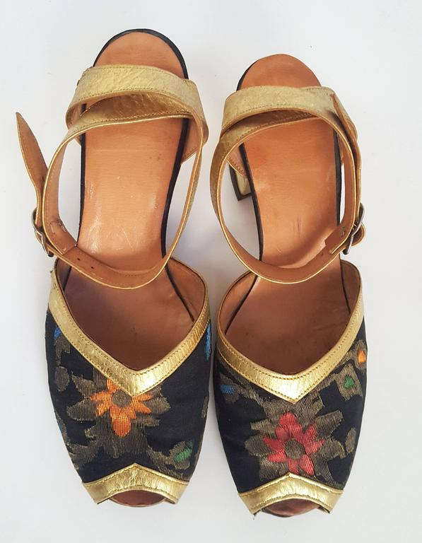 Brown 1930s Gold and Brocade Sandals  For Sale