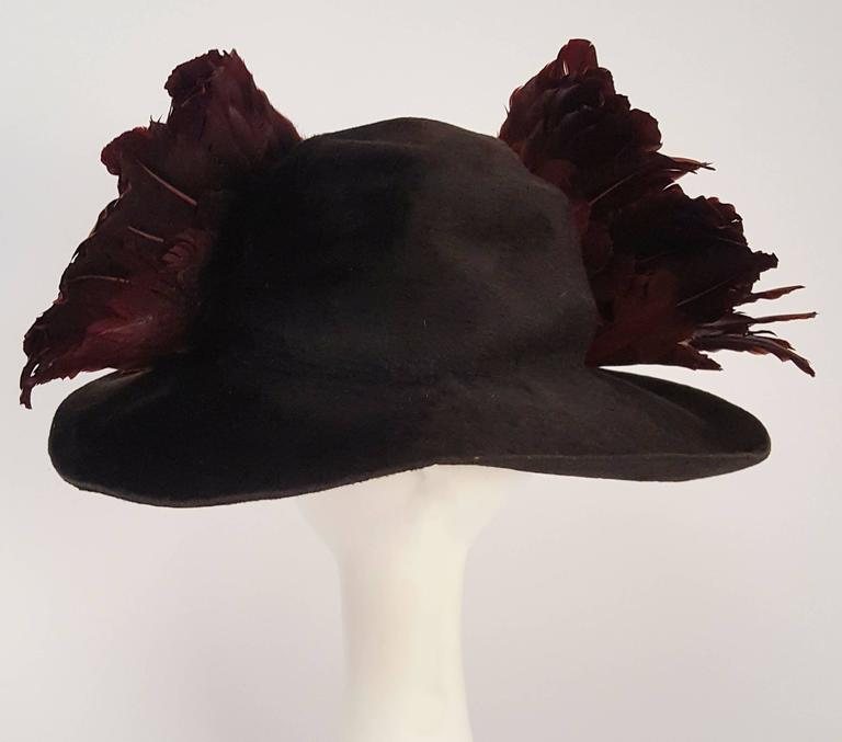Black Edwardian Winged Picture Hat For Sale
