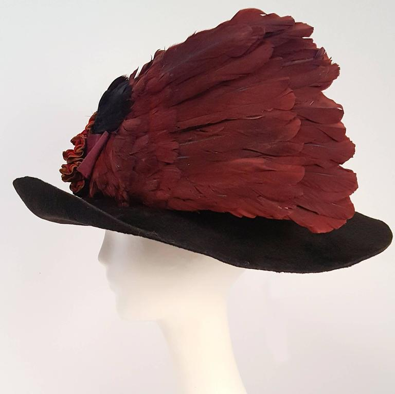Edwardian Winged Picture Hat In Excellent Condition For Sale In San Francisco, CA