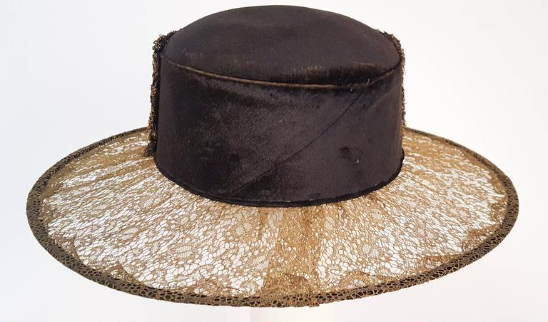 1920s Brass Lace & Beaded Wide Brim Hat In Excellent Condition In San Francisco, CA