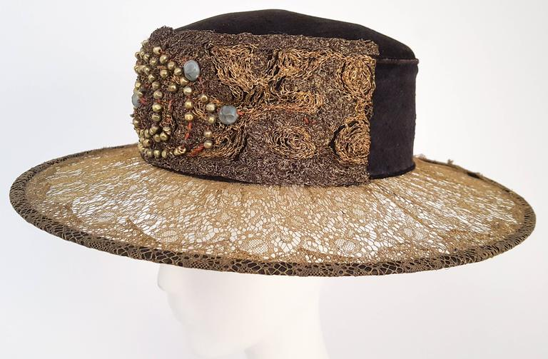 1920s Brass Lace & Beaded Wide Brim Hat.