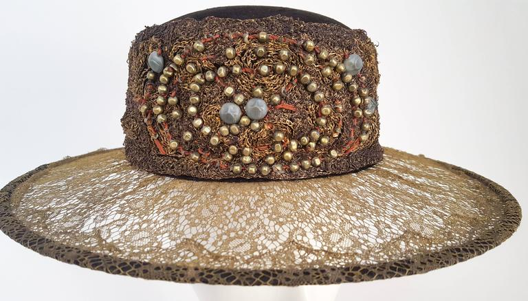 Brown 1920s Brass Lace & Beaded Wide Brim Hat