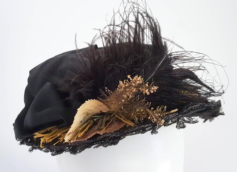 Women's Black Victorian Bonnet w/ Foliage For Sale