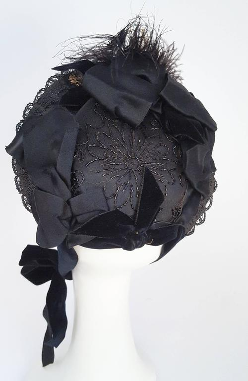 Black Victorian Bonnet w/ Foliage For Sale 2