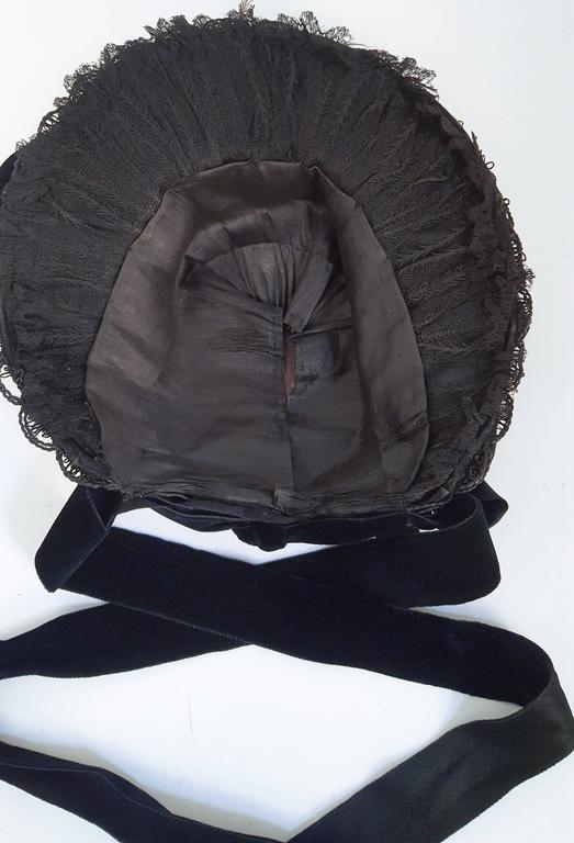 Black Victorian Bonnet w/ Foliage For Sale 3