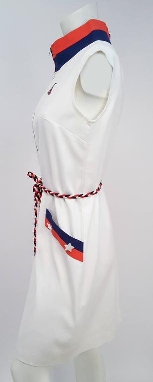 1960s Sailor Red, White, & Blue Mod Dress. Front zip closure. Tricolor braided belt. Unlined.