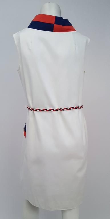 Gray 1960s Sailor Red, White, & Blue Mod Dress For Sale