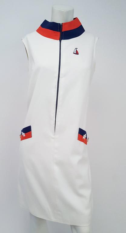 1960s Sailor Red, White, & Blue Mod Dress In Excellent Condition For Sale In San Francisco, CA