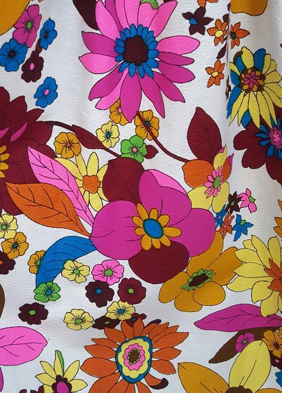 Women's 1960s Flower Print Maxi Dress For Sale
