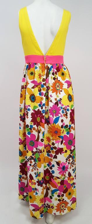 Beige 1960s Flower Print Maxi Dress For Sale