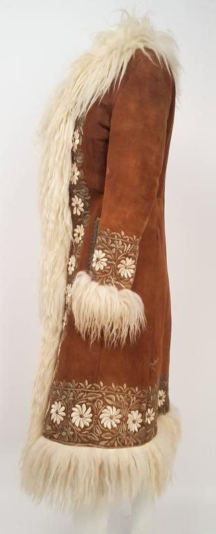 60s Summer of Mongolian Sheep Trimmed Suede Embroidered Coat. Fur lining.