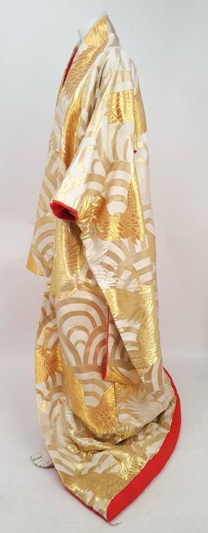 Gold Crane Embroidered Ceremonial Wedding Kimono In Excellent Condition In San Francisco, CA