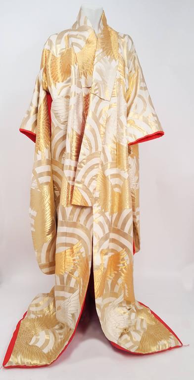Gold Crane Embroidered Ceremonial Wedding Kimono. Red lining. Metallic threads.