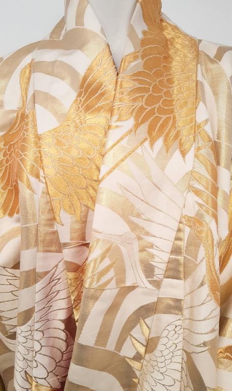 Women's Gold Crane Embroidered Ceremonial Wedding Kimono