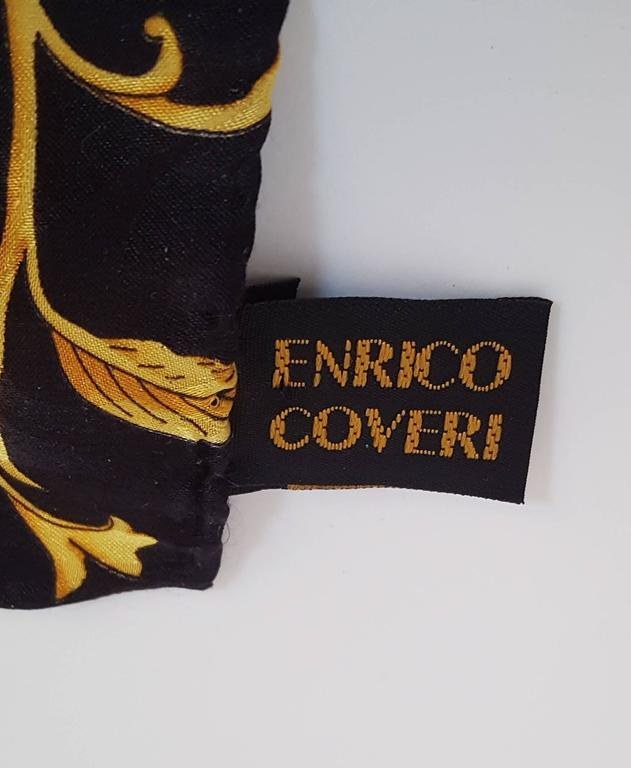 Brown 80s Enrico Coveri Silk Jacquard Printed Scarf For Sale
