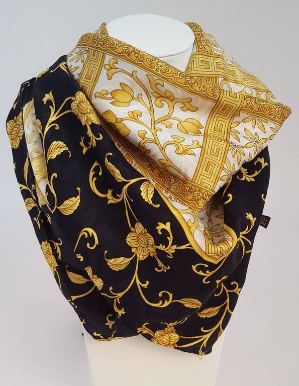 80s Enrico Coveri Silk Jacquard Printed Scarf. Classic gold and black design printed over swirled silk jacquard. Hand rolled.