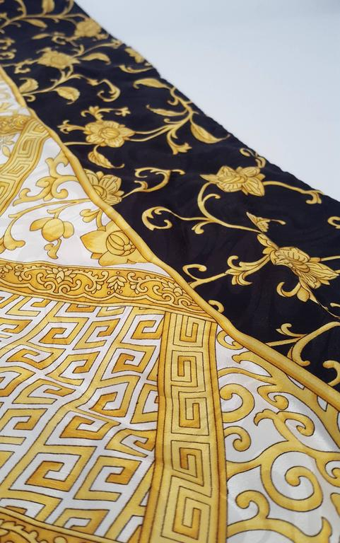80s Enrico Coveri Silk Jacquard Printed Scarf In Good Condition For Sale In San Francisco, CA