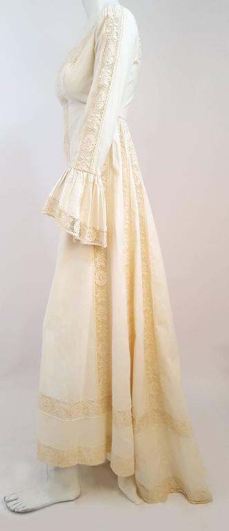 70s emma domb medieval style cotton wedding dress w train for Celtic wedding dresses for sale