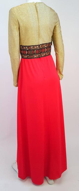 70s Gold and Red Lamé Maxi Dress In Excellent Condition For Sale In San Francisco, CA