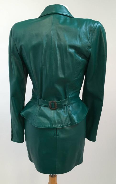 80s Michael Hoban North Beach Leather Emerald Green Jacket and ...