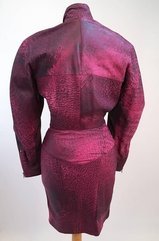 dbd2b3d916 Women s 80s Michael Hoban North Beach Leather Pink Zip Up Dress For Sale